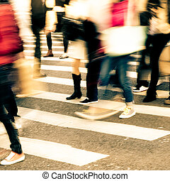 people crowd on zebra crossing street - busy city people...