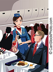 Flight attendant - A vector illustration of a flight...