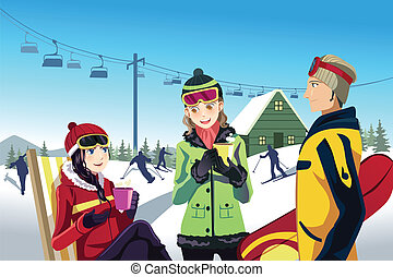 Skiing friends - A vector illustration of friends skiing in...