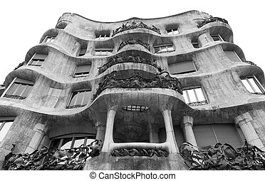 Casa Mila designed by Antoni Gaudi in Barcelona, Spain