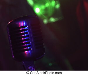 Microphone. - Microphone, colour lights, rock Concert.