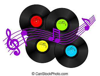 Vinyl record - 4 vinyl records and few musical signs (vector...