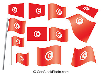 set of flags of Tunisia