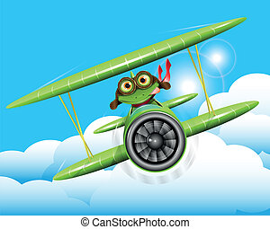 frog pilot - illustration merry green frog pilot in the...