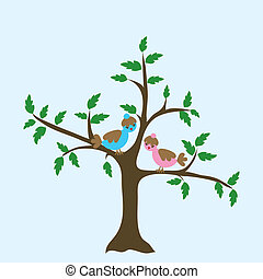 Decorative floral tree and bird, vector illustration