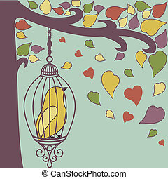 bird-in-cage-and-autumn-leaves