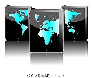 Three black tablet pc's with world