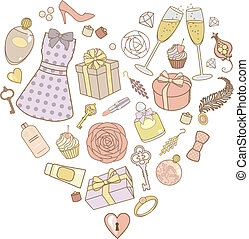presents-for-women-in-pastel-colors - vector illustration of...