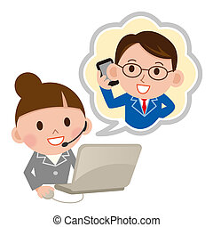 Telephone consultation place - A customer support operator...
