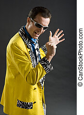 rockabilly singer from 1950s in yellow jacket - retro style...