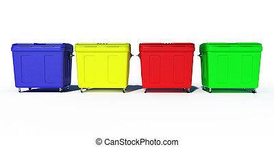 colored trash recycling bins - 3d colored trash recycling...