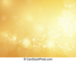 Golden sparkling star and snowflake border - Festive golden...