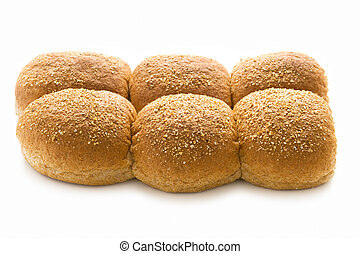 wholewheat bread rolls isolated on white - wholewheat bread...