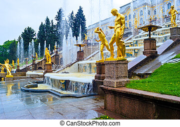 Grand Cascade Fountains At Peterhof Palace