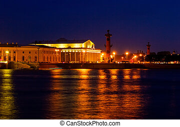 Stock Exchange and Rostral Columns - Saint Petersburg Stock...
