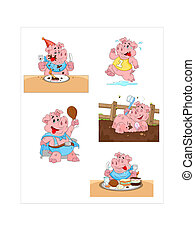 Pig Vectors - Creative Abstract Conceptual Design Art of Pig...