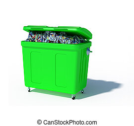 colored trash recycling bin illustration