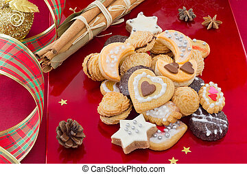 Christmas cookies, short bread in different shapes, with...