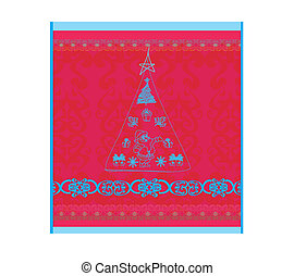 Christmas vector illustration with doodle christmas tree