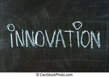 the word innovation handwritten on a blackboard