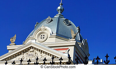 Architectural details of a landmark in the city of Bucharest...