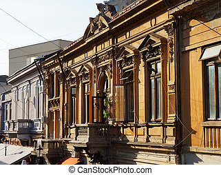 Foreshortening view of buildings in the historical centre of Bucharest in Romania