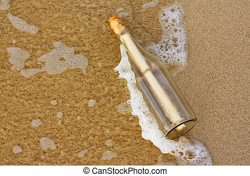 message in a bottle - a Message in a bottle washing up on...