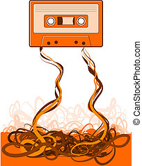 Cassette Tape Unraveled - Old skool tape background...