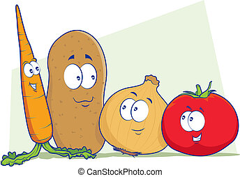 Vegetable Cartoon Characters - Mascot illustrations of a...