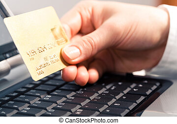 Business card - Photo of human hand holding the credit cart...