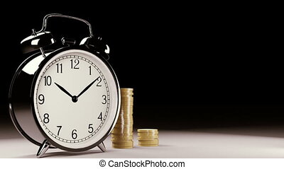 Time is money - Old clock with growing coins
