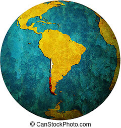 chile flag on globe map - map with flag of chile on isolated...