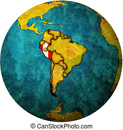 peru flag on globe map - map with flag of peru on isolated...