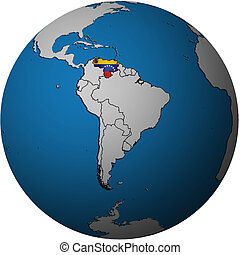 venezuela flag on globe map - map with flag of venezuela on...