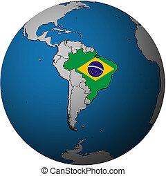 Brazylia, mapa, Bandera, kula