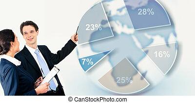Business education - Image of interacting businesspeople on...