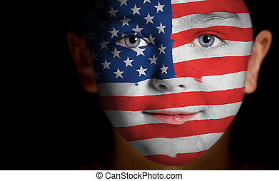 child with a painted American flag - Portrait of a child...