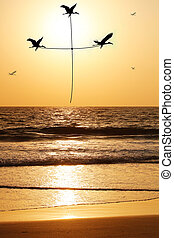 Beautiful & heavenly seaside in the evening with birds carrying thread shaped as holy cross. The evening sky is lit by the setting sun with birds flying above the beach & sea reflecting the sunlight