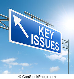 Key issues concept - Illustration depicting a roadsign with...
