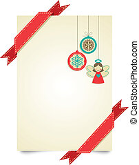 Christmas vintage greeting card with ornaments and ribbons