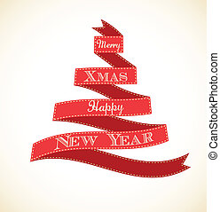 Christmas vintage greeting card with tree and ribbons