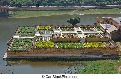 Amber fort, India - Garden forefront of Amber fort, India