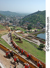 Amber fort, India - Elephant rides to entrance gate of Amber...
