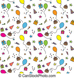 Birthday party - Seamless party pattern composed of colorful...