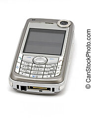 Cellphone - a silver cellphone with camera over white...