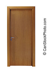 Brown door - Frontal image of a closed door, isolated on...