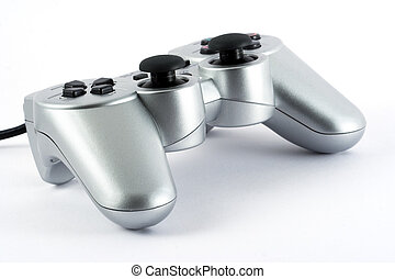 Game pad - Silver gamepad on white background