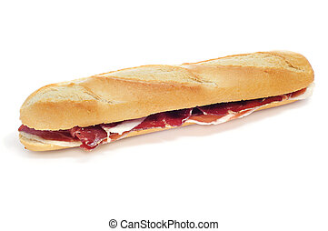spanish serrano ham sandwich on a white background