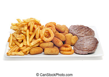 tray with fried and fattening food
