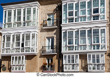 Windows in Vitoria, Alava, Basque Country, Spain